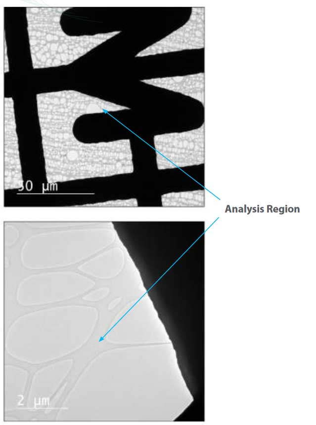 Examination of Effectiveness of Henniker Plasma Cleaner using a Holey Carbon Film by TEM - Analysis region henniker tem app note